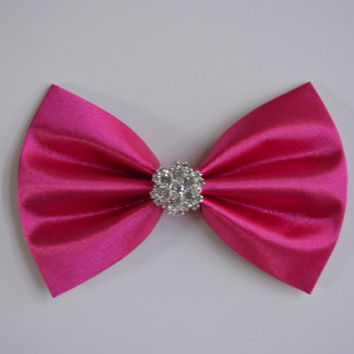 Hair bow-hot pink, satin hair bow, rhinestone, wedding bow, dancing, pageant hair bows