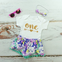 Girls First Birthday Shorts Outfit | Purple and Mint Flowers Shorts with aqua pom pom trim | One with Arrow