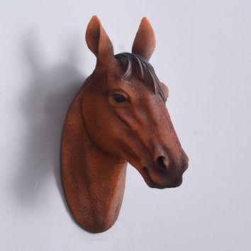 Horse head wall hanging simulation animal creative simple home living room background Arts Crafts wall sculpture decoration