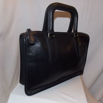 COACH Vintage 'Large Slim Satchel' Bag ~ #0272-301 ~Brass ~Black ~ PRISTINE COND