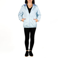 Cinnamoroll Zip-Up Windbreaker Jacket Adult: Blue Gingham