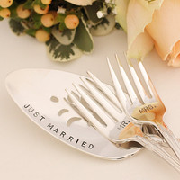 Mr Mrs Fork Set  and Cake Server Hand Stamped by BeachHouseLiving