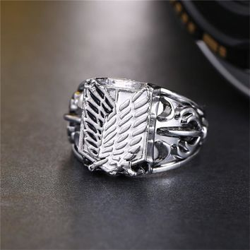 Cool Attack on Titan HSIC Anime  Ring Wings Of Liberty Flag Finger Rings Women Men Cosplay Accessories Fashion Jewelry Size 8 AT_90_11
