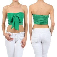 CROP TOP GREEN BOW CHIFFON STRAPLESS TUBE SWEETHEART SUMMER SHIRT NEW SEXY S M L