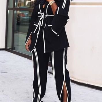 New Black-White Striped Pockets Sashes Turndown Collar Flare Sleeve Office Worker Long Jumpsuit