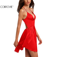 COLROVE 2016 Summer Ladies Sexy Brand Red Spaghetti Strap Criss Cross Back Sleeveless Deep V Neck Backless Pleated Mini Dress