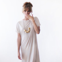 Tank Top T Shirt Dress,Cream cotton midi dress, Loose fit dress
