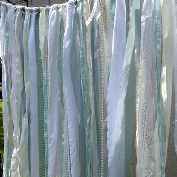 Tiffany Blue, Seafoam Wedding Backdrop Floor Length Garland Banner - Pearls, Lace, Tattered Repurposed Fabric Bunting