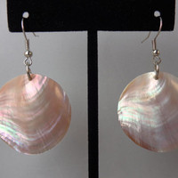 Mother Of Pearl, Shell Earrings, Pink, Shimmer pink, Nickel Free, Made In Hawaii, One-of-a-Kind, Nickel Free