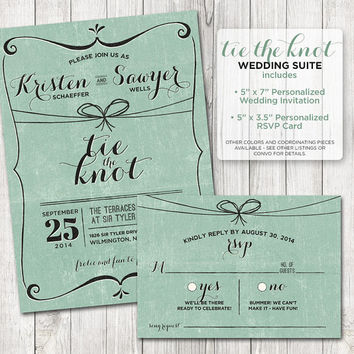 Tie the Knot Rustic Save the Date - Rustic Chic Save the Date Card - Choose Your Color  - Vintage Save the Date Printable