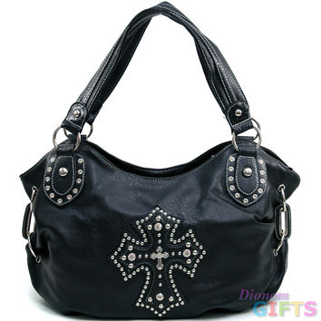Women's Cross Accented Hobo Bag w/ Rhinestones, Studs, & Croco Trim - Black Color: Black