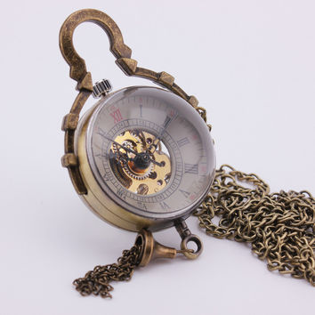 Vintage Retro Spherical Glass Ball Pocket Watch