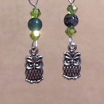 Owl Charm Earrings, Green Glass Bead & Peridot Crystal Silver Owl Charm Earrings, Glass Bead Earrings, Handmade Beaded Jewelry, Gift for Her