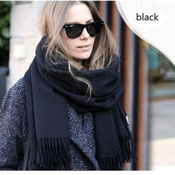 2016 winter style women Scarves famous brand luxury men Cashmere warm thick Unisex Pashmina Couple scarf for women grey black