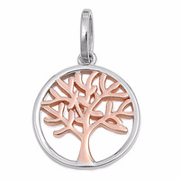 """Sterling Silver Rose Tone Tree of Life Wicca Pendant 20MM (FREE 18"""" Chain)"""