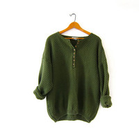 vintage olive green sweater. henley pullover sweater. nubby button front sweater. textured knit sweater.