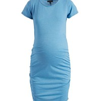 Dusty Blue Side-Cinch Maternity Dress