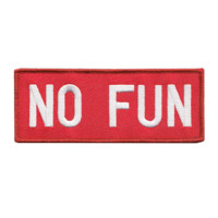 No Fun Embroidered Patch, Red
