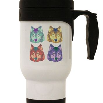Geometric Wolf Head Pop Art Stainless Steel 14oz Travel Mug by TooLoud