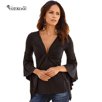 Yizekoar Black Long-Sleeve Top Women Blouse Shirt Top Night Club Clothing Deep V Neck For Women Casual Soft