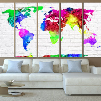 world map canvas art print, large wall art, world map wall art,  extra large wall art textured background, watercolor world map  t433