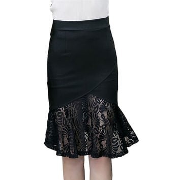 High Waist Stretch Lace Patchwork OL Pencil Skirt
