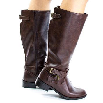 Bio Brown By Soda, Military Equestrian Biker Riding Boots Tall Knee high Soda Shoes Women