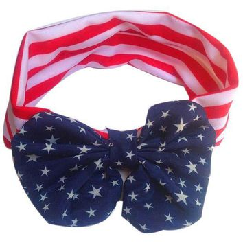 CREY78W 2017 new winter women gril fashion Hot Sale Lowest Price  American Flag Pattern Bowknot Elastic Cloth Headband JUL21