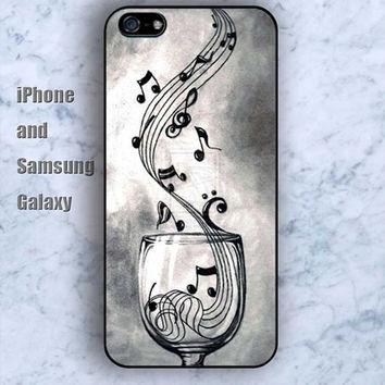 Musical notation in the glass iPhone 5/5S case Ipod Silicone plastic Phone cover Waterproof