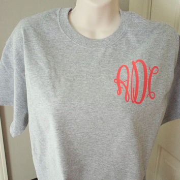 Monogrammed T-shirt. Tshirt. Monogrammed. Fancy Monogram. Bridesmaid Gift. Shirt. Wedding. Wedding Gift. Monogrammed Shirt. Fancy.