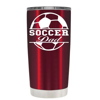 TREK Soccer Ball Dad on Translucent Red 20 oz Tumbler Cup