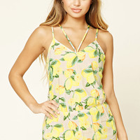 Lemon Print Cover-Up Romper