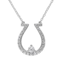 Lab-Created White Sapphire Sterling Silver Horseshoe Necklace