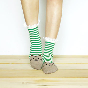 Buy 3 get 4th FREE (Mix & Match) - Kitty Lace Socks, Ankle Socks, Christmas Socks, Lace Boot Socks, Knitted Socks, Leg Warmer