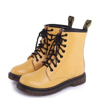 Yellow Lace Up Flat Boots with Nap Lining and Pull Tag