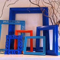 Eclectic Home Decor Empty Frame Gallery Vintage Frames Little Boy Blue Painted Frames Upcycled Bright Frames
