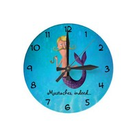 Blond Mustached Merman Round Wall Clock from Zazzle.com