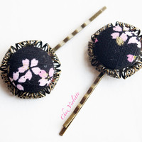 2 Black Bobby Pin Pink Flower Japanese Fabric Button Hair Clip Hair Pin Accessories Jewelry Retro Romantic