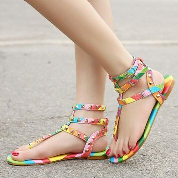 Size 35-45 New Gladiator Sandals Women Shoes Flats Multicolor Rivets Sandals Buckle Sa