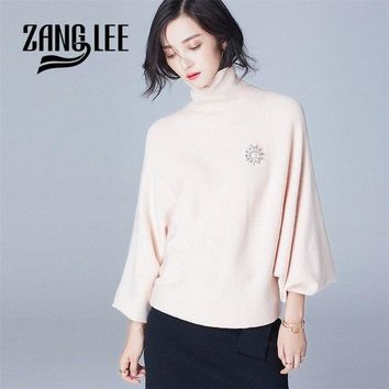 ZANG LEE Puff Sleeve Turtleneck Pullover Sweater Loose Bat Knitted Top Elegant And Vintage Christmas Sweater Sueter Jersey Mujer