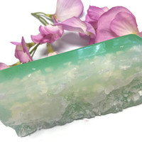 Lavender Melon Glycerin Soap Salt Scrub Bar With Dead Sea Salt Fluffs Dry Dead Skin Body Exfoliation