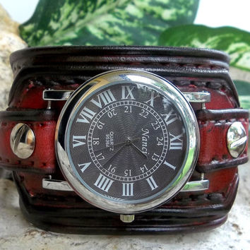 Mens watch cuff,  leather wrist watch, Light brown men's leather cuff, watch bracelet, Red