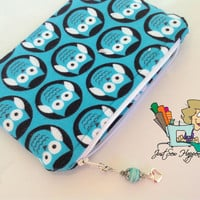 Teal Owl Makeup Bag with Beaded Zipper Pull Cosmetic Bag