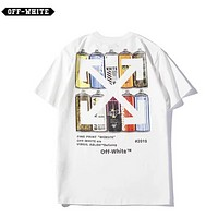 Off White & NIke& Supreme&Palace&Bape Aape & LV & GUCCI More Brand Summer New Fashion Bust Pattern And Back Cross Arrow Pattern Womem Men Pirnt White