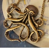 Vintage Bronze Octopus Pendant Long Chain Necklace
