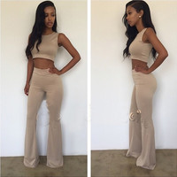 Sleeveless Cropped Top and Flared Leg Pants
