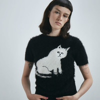 Lazy Oaf Furry Kitty Knitted Top - Black - View all - New In - Womens