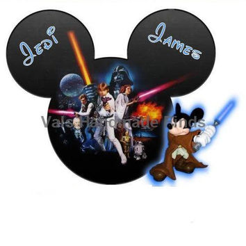 Return of the Jedi Mickey Mouse Head Disney World Personalized w/ Name/Date Printable Iron On Transfer DIY Instant Download