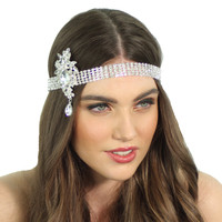 1920'S Flapper Inspired Crystal Great Gatsby Bridal Headpiece Headband