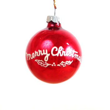 Vintage Shiny Brite / 50s Glass Ornament / Merry Christmas / Red and White / Ball Ornament / Christmas Ornament / Glitter Mercury Glass